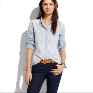 Madewell distressed chambray button down shirt
